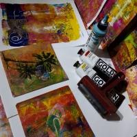 Monoprinting  ou exploration et création d'estampe.